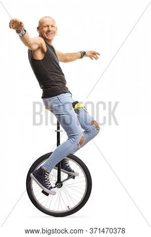 Bald man hipster riding unicycle isolated on white background
