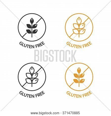 Gluten Free Icons Set. No Wheat Symbols For Food Package, Dietary Products. Natural Ingredients Labe