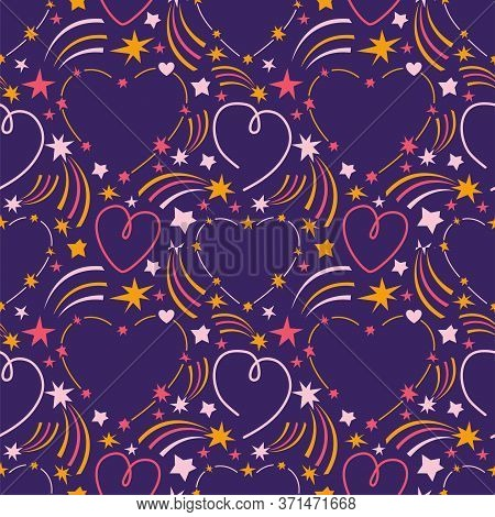 Seamless Pattern Heart On The Starry Sky. Cosmic Background Stars, Comets, Meteorites, Constellation