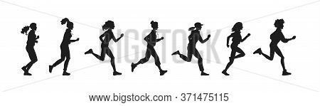 Vector Illustration Black Silhouette Beautiful Athletic Girls Of Various Nationalities Run And Jog I