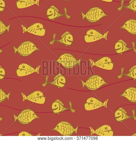 Yellow Fish Seamless Vector Pattern On Rusty Background. Sealife Surface Print Design. For Fabrics,