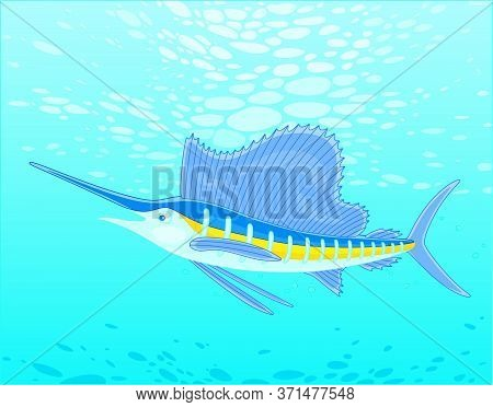 Large Marine Swordfish Swimming In Blue Water Of A Deep Tropical Sea, Vector Cartoon Illustration