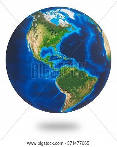 North And South America, Two Of The Earths Continent. Earth Isolated On White Background. Earth Plan