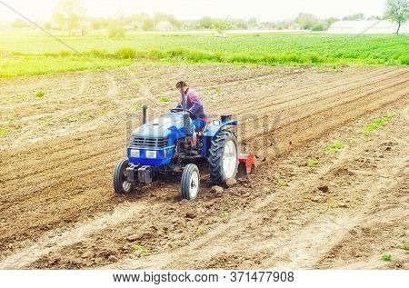 A Farmer On A Tractor Cultivates A Farm Field. Soil Milling, Crumbling And Mixing. Loosening Surface