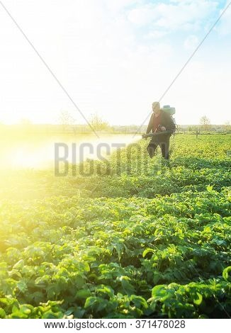 Farmer Spray Crops With Pesticides. The Use Of Chemicals In Agriculture. Agriculture And Agribusines