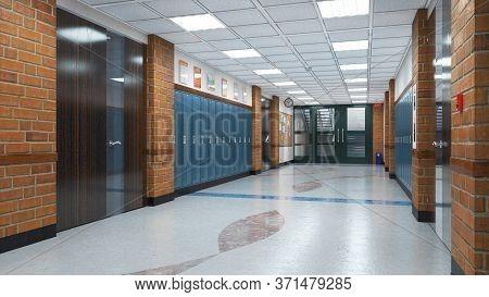 School Corridor University Hall, Interior. 3d Illustration