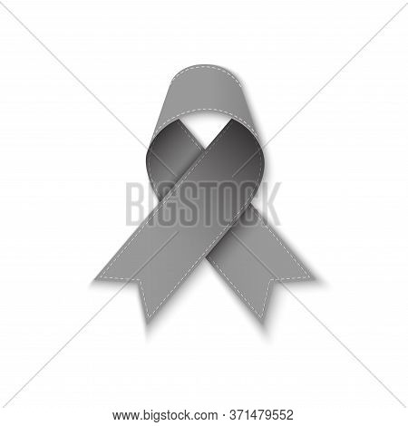 Grey Ribbon As Symbol Of Borderline Personality Disorder, Diabetes, Asthma And Brain Cancer Awarenes