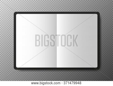 Realistic Blank Black Open Copybook Template On Transparent Background. Notebook Vector.