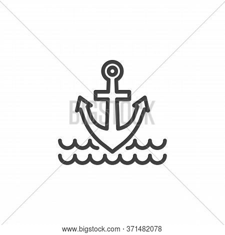 Anchor And Sea Waves Line Icon. Linear Style Sign For Mobile Concept And Web Design. Nautical Anchor