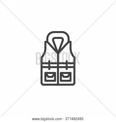 Life Jacket Line Icon. Linear Style Sign For Mobile Concept And Web Design. Safety Jacket Vest Outli