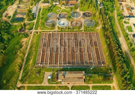 Modern Wastewater Treatment Plant With Sedimentation Tanks And Pools With Sludge Filtration Of Sewer