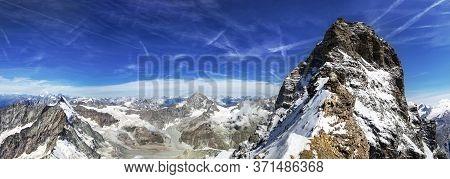 Matterhorn Seen From Tyndall Situated On Lion Ridge. Matterhorn Panorama In Switzerland.