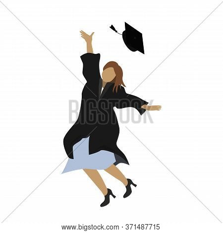 Young Graduate Student Girl In Graduation Gown Jumping And Throwing The Mortarboard High Into The Ai