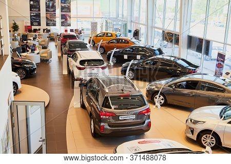 Vologda, Russia - June 18, 2019: Cars In Showroom Of Dealership Kia In Vologda In Russia. Top View
