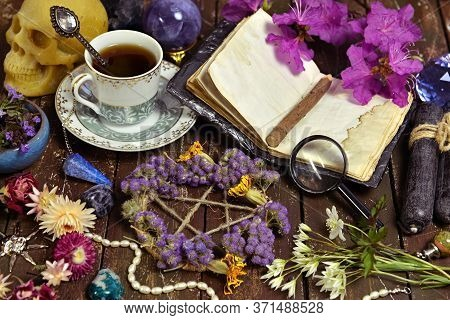 Pentagram With Dry Flowers, Open Diary And Cup Of Coffee On Witch Table. Esoteric, Wicca And Occult