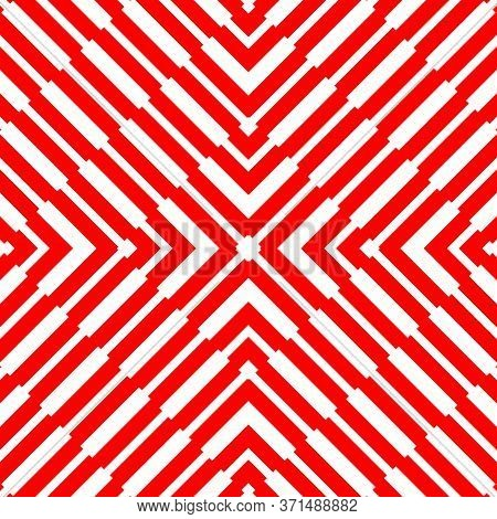 Red Diagonal Lines On White Background. Striped Wallpaper. Seamless Surface Pattern Design With Symm