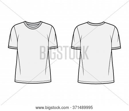 T-shirt Technical Fashion Illustration With Crew Neck, Fitted Oversized Body Short Sleeves, Flat Sty