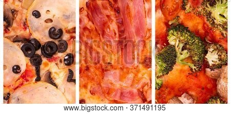 Collage Of Three Kinds Best Italian Pizzas. Pizza With Ham, Mushrooms And Olives, With Bacon And Veg