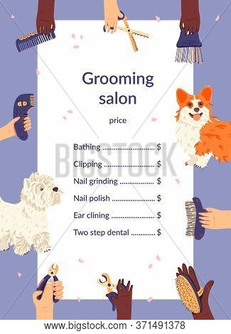 Grooming Salon Price List Template Flat Vector Illustration. Domestic Animals And Groomers Hands Aro