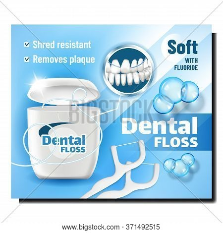Dental Floss Oral Hygiene Product Banner Vector. Dental Floss With Fluoride Blank Container, Equipme