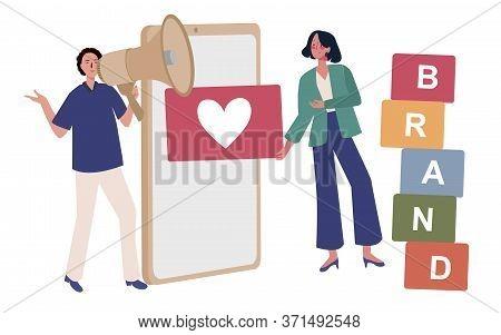 Brand Building Social Media Online. Men Speak Using Megaphones To Building Business Brands And Women