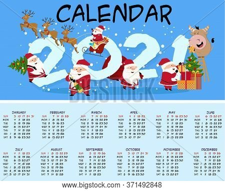 Calendar For The Year Of The Bull 2021. Calendar 2021. Cute Bull And Cow. The Bull Is A Symbol Of Th