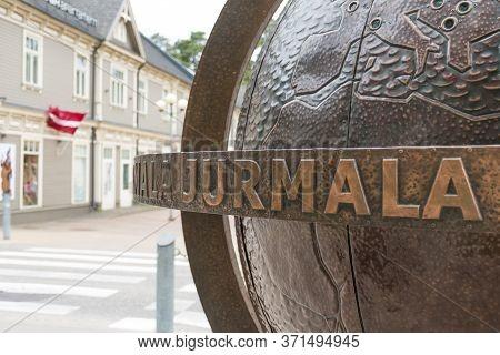 Jurmala, Latvia - June 14 2020: Globe Of Jurmala, Latvian Resort City On The Gulf Of Riga, Known For