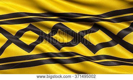 Flag of West Midlands waving in the wind. 3D illustration.