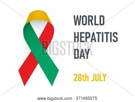 World Hepatitis Day. Red, Yellow And Jade Green Ribbon As Symbol Hepatitis A, B, C Awareness. Vector