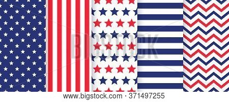4th July Seamless Pattern. Set Of American Patriotic Textures. Abstract Geometric Backgrounds. Simpl