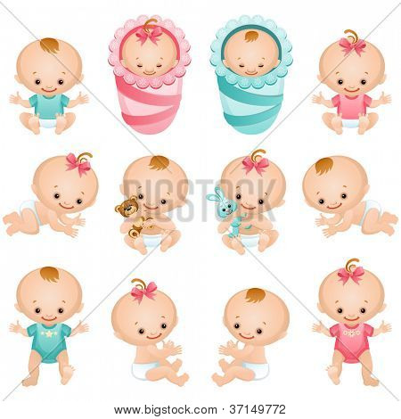 Newborn baby icon set  - raster version