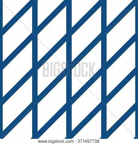 Diagonal Lattice Vector Seamless Pattern Background. Simple Minimalist Criss Cross Grid On White Bac