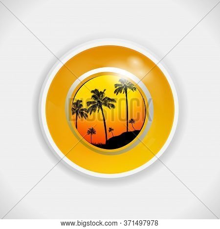 3d Illustration Of A Yellow Bingo Lottery Ball With Tropical Summer Scene Of Palm Trees Silhouette I