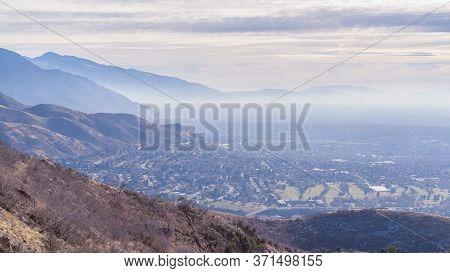 Panorama Hazy Overview Overlooking Salt Lake City, Utah