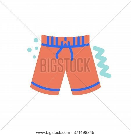 Sport Shorts Flat Icon, Vector Sign, Beach Shorts Colorful Pictogram Isolated On White. Symbol, Logo