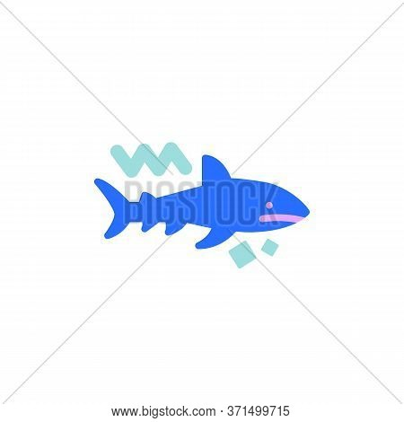 Shark Predator Flat Icon, Vector Sign, Shark Colorful Pictogram Isolated On White. Symbol, Logo Illu
