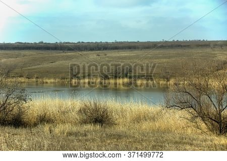 Beautiful Landscape. Autumn Landscape River And Trees On A Background Of Blue Sky,