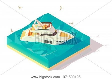 Vector Isometric Modern Motor Yacht In Blue Water. Modern Luxury Motor Yacht Sailing On Blue Waves O
