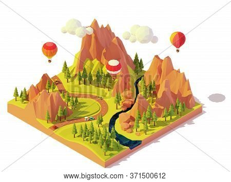Vector Isometric Hot Air Balloon Rides. Hot Air Balloons Flying Over Mountains, Valley And River. Co