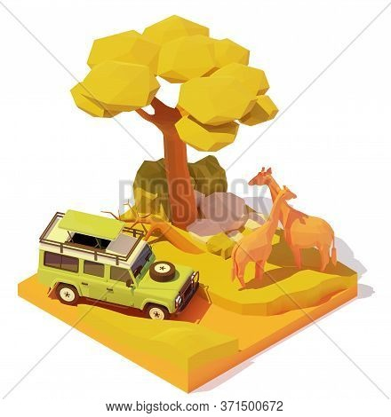 Vector Isometric Africa Safari Adventures Illustration. Off-road Car With Tourists In African Savann
