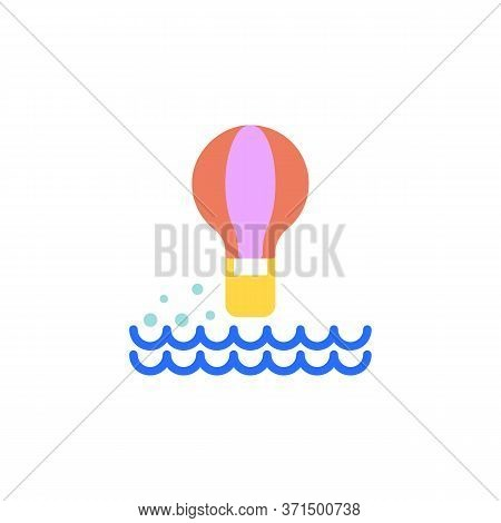 Hot Air Balloon Above Sea Flat Icon, Vector Sign, Colorful Pictogram Isolated On White. Symbol, Logo