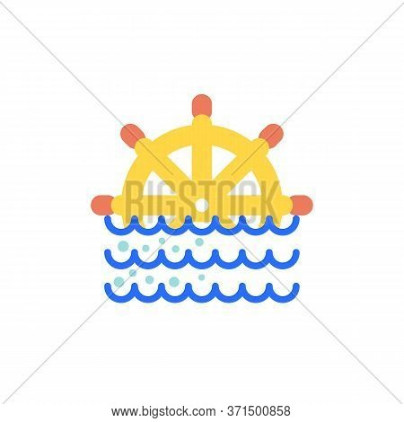 Nautical Steering Wheel Flat Icon, Vector Sign, Steering Wheel And Sea Waves Colorful Pictogram Isol