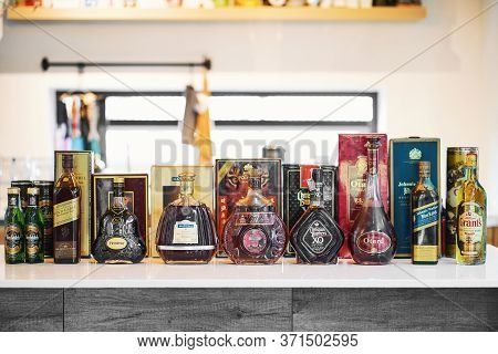Bangkok, Thailand - May 2, 2020 : Many Bottles Of Old Vintage Several Global Whiskey Brands On The K
