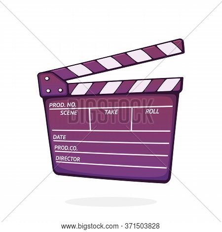 Open Clapperboard Used In Cinema When Shooting A Film. Cinematograph Clapper Board. Symbol Of The Fi