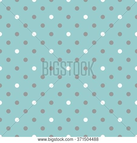 Tile Vector Pattern With Grey And White Polka Dots On Mint Blue Background