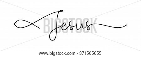 Jesus. Christian, Bible, Religious, Churh Word. Lettering Typography Poster, Banner Vector Design. J