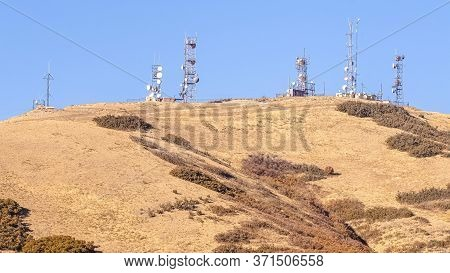 Panorama Group Of Communications Towers On A Hilltop