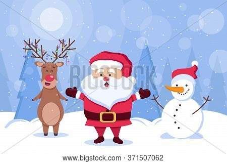 Merry christmas. Deer, santa claus and snowman. Christmas. Christmas Vector. Christmas Background. Merry Christmas Vector. Merry Christmas banner. Christmas illustrations. Merry Christmas Holidays. Merry Christmas and Happy New Year Vector Background. Mer