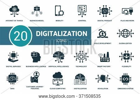 Digitalization Icon Set. Collection Contain Digital Services, Cloud Computing, Data, Flexibility And