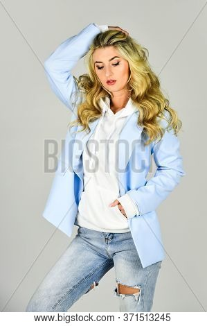 Oversize Jacket. Classy And Chic. Girl Confident Lady Formal Jacket Hoodie And Denim Jeans. Pretty W